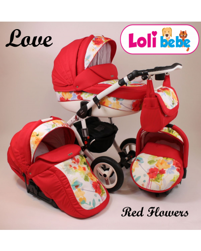 Carucior copii 3 in 1 Lolibebe LOVE Red Flowers