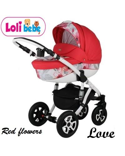Carucior copii 3 in 1 Lolibebe LOVE Red Flowers