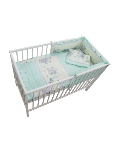 Lenjerie MyKids Teddy Toys Turquoise 4 Piese M1 120x60