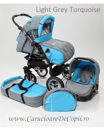 Carucior copii 2 in 1 Junior Plus cu port-bebe light grey turquoise