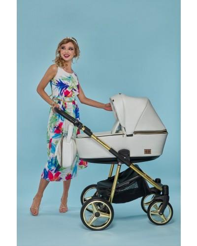 Carucior copii 3 in 1 Reggio Adamex Special Edition White Pure Gold Y211