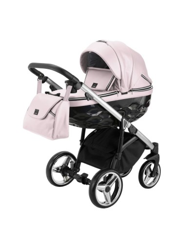 Carucior copii 3 in 1 Chantal PRO Adamex Special Edition Pink Leather Silver CHP107