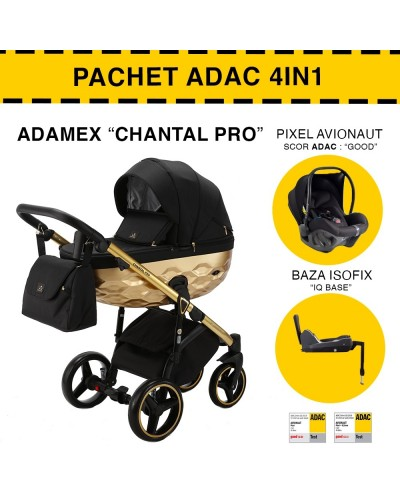 Carucior 4 in 1 Chantal PRO Adamex Gold Star 6 Pachet ADAC