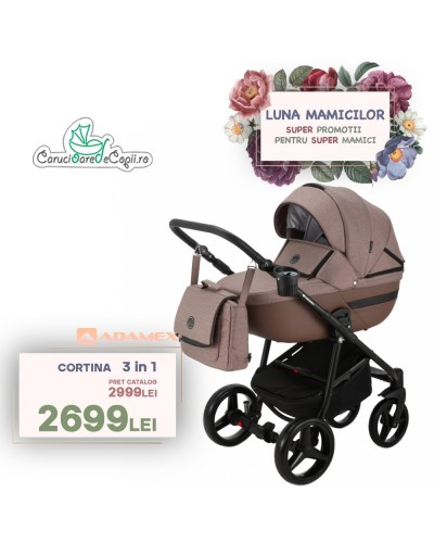 Carucior copii 3 in 1 Cortina PRO Adamex Brown CP237