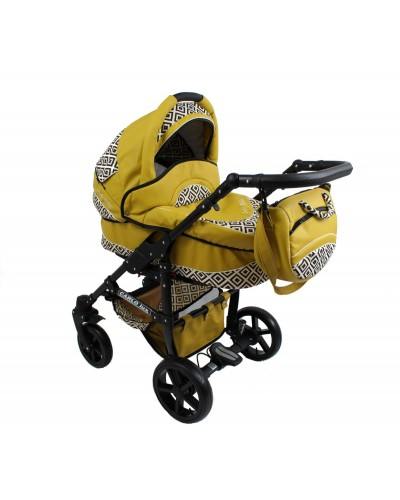 Carucior copii Carlo Lux Premium Black Edition 3 in 1 Eko Yellow
