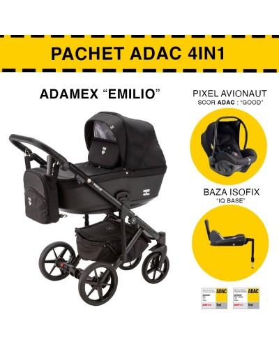 Carucior 4 in 1 Emilio Adamex Clasic Black EM238 Pachet ADAC