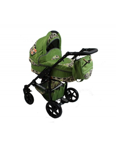 Carucior copii Carlo Lux Premium Black Edition 3 in 1 Green Animals