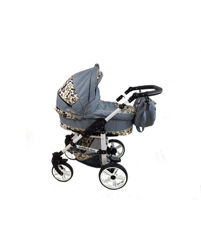 Carucior copii 3 in 1 Carlo Lux Grey Animals