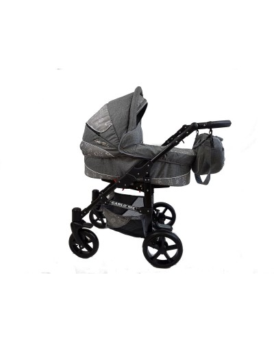 Carucior copii 3 in 1 Carlo Lux Premium Black Edition Grey Kids