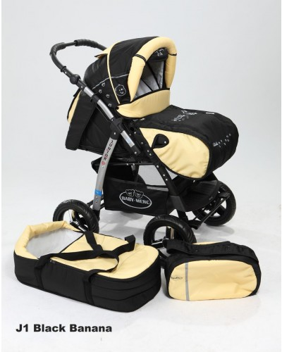 Carucior copii 2 in 1 Junior Plus cu port-bebe Black Yellow