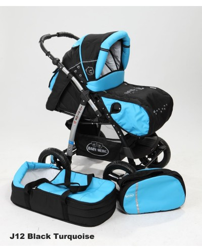 Carucior copii 2 in 1 Junior Plus cu port-bebe Black Turquoise