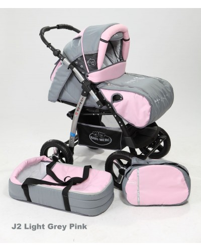 Carucior copii 2 in 1 Junior cu port-bebe light grey pink