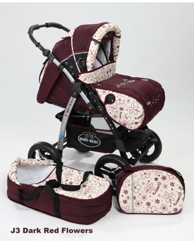 Carucior copii 2 in 1 Junior cu port-bebe Dark Red Flowers