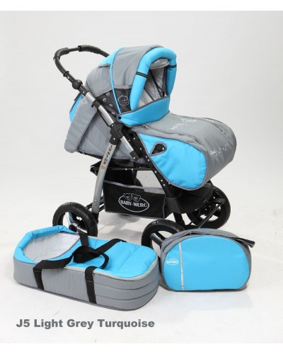 Carucior copii 2 in 1 Junior cu port-bebe light grey turquoise