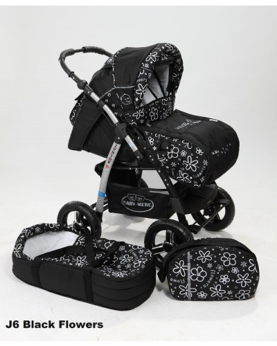 Carucior copii 2 in 1 Junior cu port-bebe Black Flowers