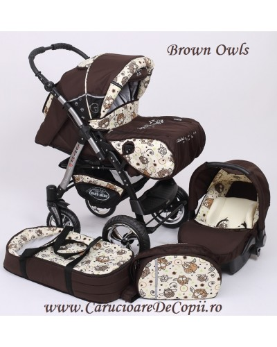 Carucior 3 in 1 Junior Plus Baby Merc Brown Owls