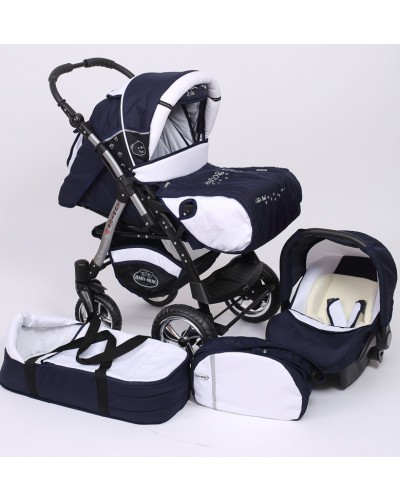 Carucior 3 in 1 Junior Plus Baby Merc Navy Blue White
