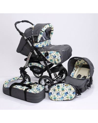 Carucior 3 in 1 Junior Plus Baby Merc Grafit Owls