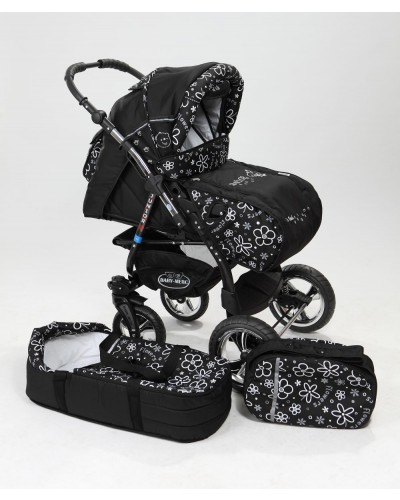 Carucior copii 2 in 1 Junior Plus cu port-bebe Black Flowers