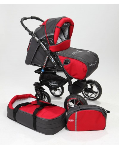 Carucior copii 2 in 1 Junior Plus cu port-bebe Charcoal Grey Red