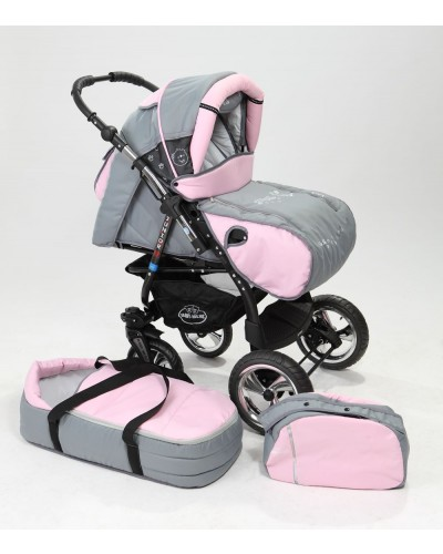 Carucior copii 2 in 1 Junior Plus cu port-bebe Light Grey Pink