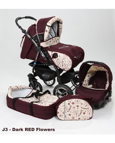Carucior copii 3 in 1 Junior cu port-bebe si scoica Dark red Flowers