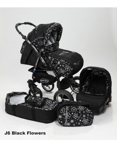 Carucior 3 in 1 Junior Plus Baby Merc Black Flowers