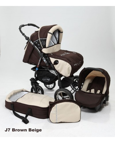 Carucior copii 3 in 1 Junior cu port-bebe si scoica Brown Beige