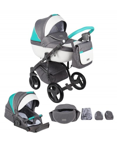 Carucior copii 3 in 1 Massimo Adamex V104 Grey-Blue Sport Edition