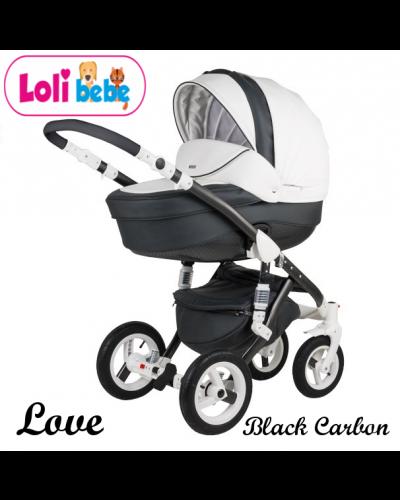 Carucior copii 3 in 1 LoliBebe LOVE Deluxe Black Carbon