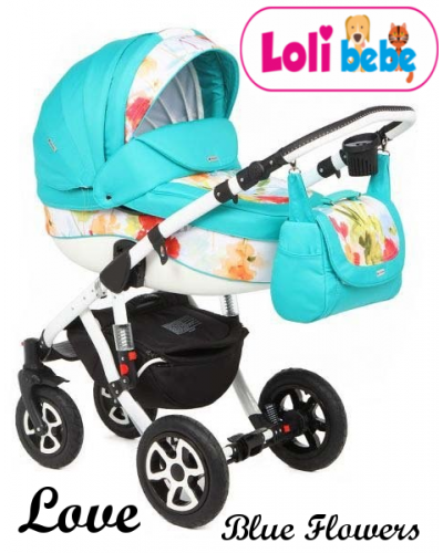 Carucior copii 3 in 1 LoliBebe Love Blue Flowers
