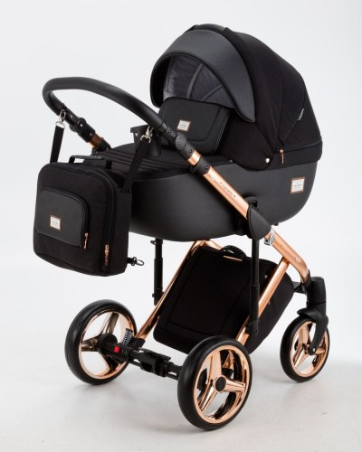 Carucior copii 3 in 1 Luciano Adamex Black Rose Gold Special Edition Q86