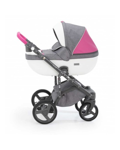 Carucior copii 3 in 1 Adamex Massimo Grey Pink Sport Edition