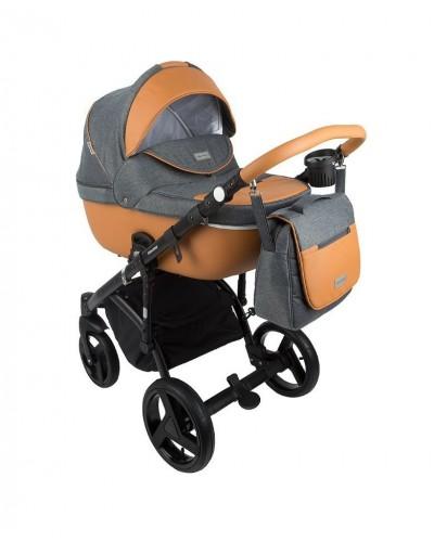 Carucior copii 3 in 1 Adamex Massimo Grey Beige V11