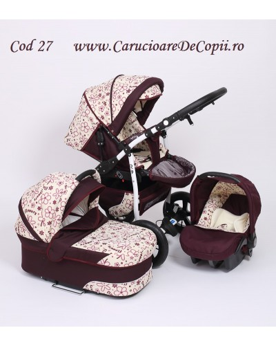 Carucior copii 3 in 1 Q9 Dark Red Flowers color 27