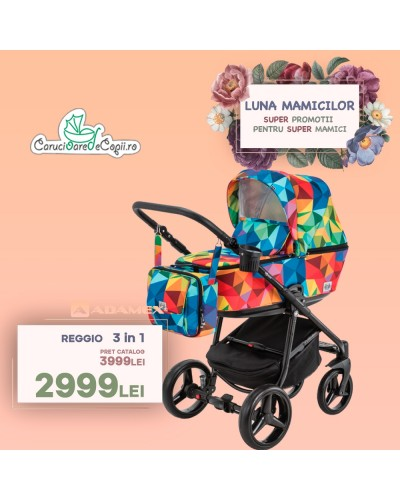 Carucior copii 3 in 1 Reggio Adamex Special Edition Rainbow Y123