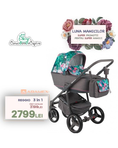 Carucior copii 3 in 1 Reggio Adamex Jungle Pink Parrots Y131
