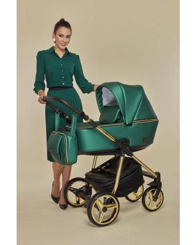 Carucior copii 3 in 1 Reggio Adamex Special Edition Smarald Gold Y216