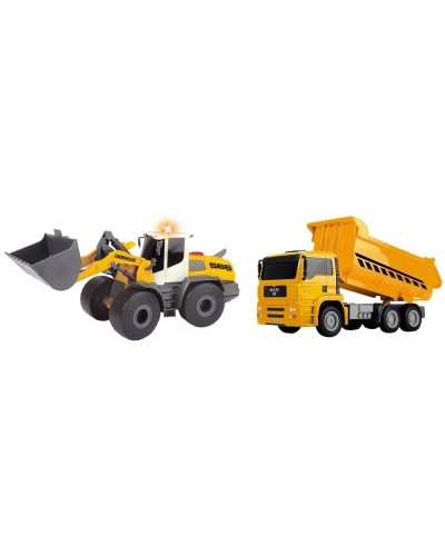Set Dickie Toys Construction Twin Pack camion basculant MAN si buldozer Liebherr L566 Xpower